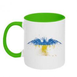 Кружка двухцветная Жовто-блакитний птах - FatLine