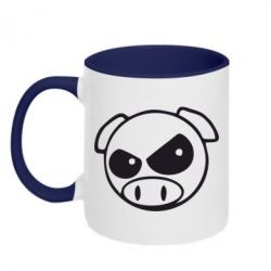 Кружка двухцветная Злая свинка - FatLine