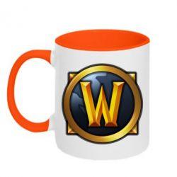 Кружка двухцветная Значок wow - FatLine