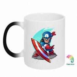 Кружка-хамелеон Cartoon Captain America - FatLine
