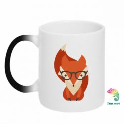 Кружка-хамелеон Fox in glasses - FatLine