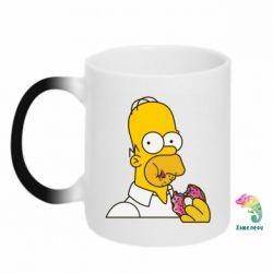 Кружка-хамелеон Гомер любит пончики - FatLine