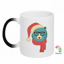 Кружка-хамелеон Hipster Christmas Bear - FatLine