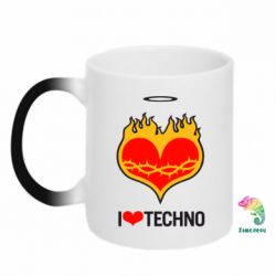 Кружка-хамелеон I love Techno logo - FatLine