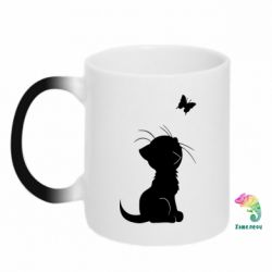 Кружка-хамелеон Котик с бабочкой - FatLine