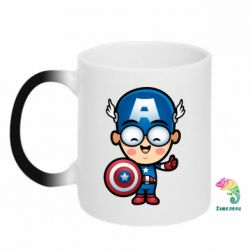 Кружка-хамелеон Маленький Капитан Америка - FatLine