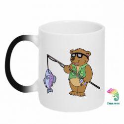 Кружка-хамелеон Медведь ловит рыбу - FatLine