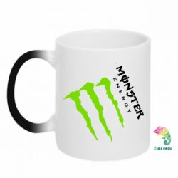 Кружка-хамелеон Monster Energy под наклоном