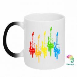 Кружка-хамелеон Разноцветные гитары - FatLine