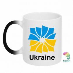 Кружка-хамелеон Ukraine квадратний прапор - FatLine