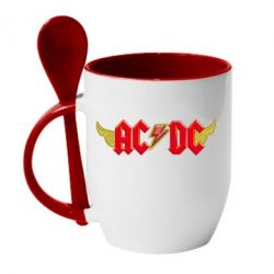 Кружка с керамической ложкой AC/DC с крыльями - FatLine