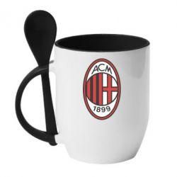 Кружка с керамической ложкой AC Milan - FatLine