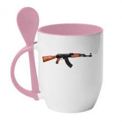 Кружка с керамической ложкой АК-47