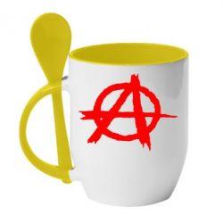 Кружка с керамической ложкой Anarchy - FatLine