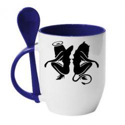 Кружка с керамической ложкой Ангел и Демон - FatLine