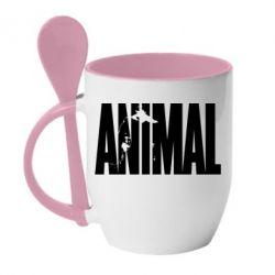 Кружка с керамической ложкой Animal Gym - FatLine