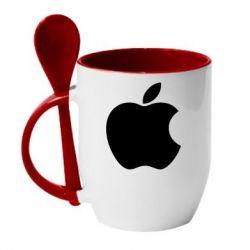 Кружка с керамической ложкой Apple Corp. - FatLine