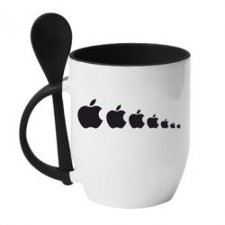 Кружка с керамической ложкой Apple Evolution - FatLine