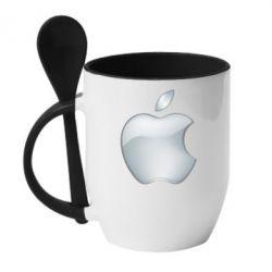 Кружка с керамической ложкой Apple Silver - FatLine