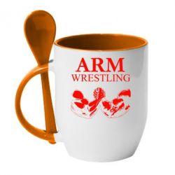 Кружка с керамической ложкой Arm Wrestling - FatLine