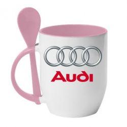 Кружка с керамической ложкой Audi 3D Logo - FatLine