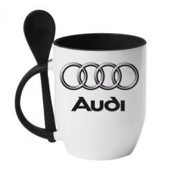 Кружка с керамической ложкой Audi Small - FatLine