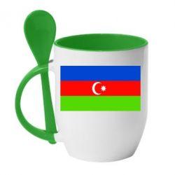 Кружка с керамической ложкой Азербайджан - FatLine