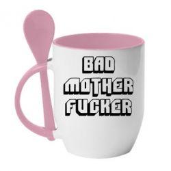 Кружка с керамической ложкой Bad Mother F*cker - FatLine