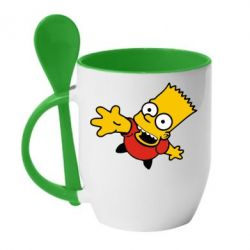 Кружка с керамической ложкой Барт Симпсон - FatLine