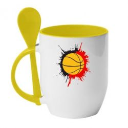 Кружка с керамической ложкой Баскетбольный мяч - FatLine