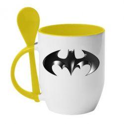 """Кружка с керамической ложкой Batman """"3d Logo"""" - FatLine"""