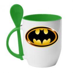 Кружка с керамической ложкой Batman logo Gold - FatLine