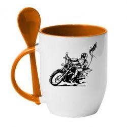 Кружка с керамической ложкой Байкер на мотоцикле - FatLine