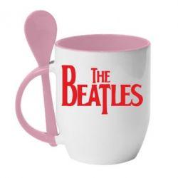 Кружка с керамической ложкой Beatles - FatLine