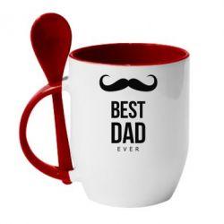 Кружка с керамической ложкой Best Dad Ever - FatLine