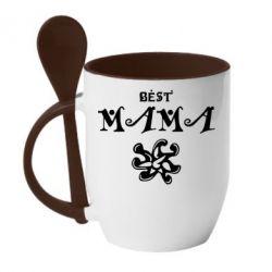 Кружка с керамической ложкой Best Mama - FatLine