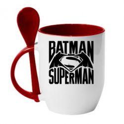 Кружка с керамической ложкой Бэтмен vs. Супермен - FatLine