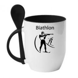 Кружка с керамической ложкой Biathlon - FatLine