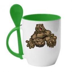 Кружка с керамической ложкой Big Bear - FatLine