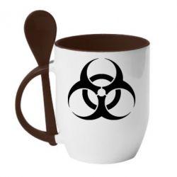 Кружка с керамической ложкой biohazard - FatLine