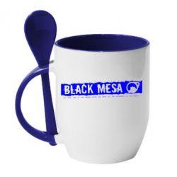 Кружка с керамической ложкой Black Mesa - FatLine