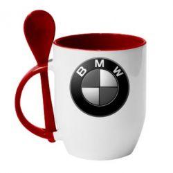 Кружка с керамической ложкой BMW Black & White - FatLine