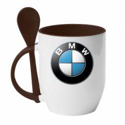 Кружка с керамической ложкой BMW Logo 3D - FatLine