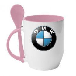 Кружка с керамической ложкой BMW Small Logo - FatLine