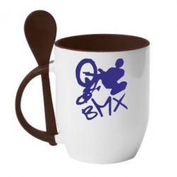 Кружка с керамической ложкой BMX - FatLine
