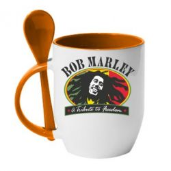 Кружка с керамической ложкой Bob Marley A Tribute To Freedom - FatLine