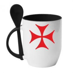 Кружка с керамической ложкой Болнисский крест - FatLine