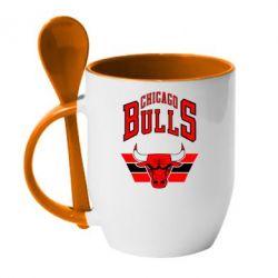 Кружка с керамической ложкой Большой логотип Chicago Bulls - FatLine