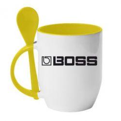 Кружка с керамической ложкой Boss audio - FatLine