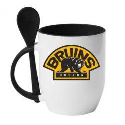 Кружка с керамической ложкой Boston Bruins - FatLine